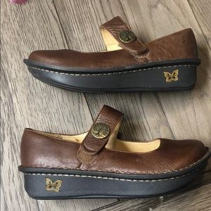 Alegria Shoes - Alegria brown slip ons with tree Velcro closure